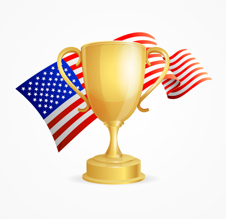 competitions: USA Winning Golden Cup Concept for Competitions Isolated on White Background. Vector illustration