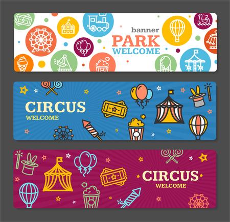 Entradas Circo del parque de atracciones de tarjetas Conjunto de la bandera horizontal sobre fondo gris. ilustración vectorial Ilustración de vector
