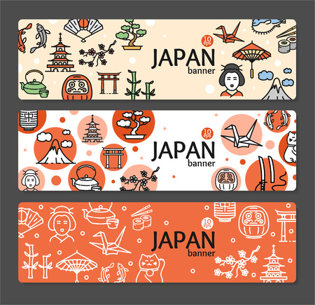 Japan Banner Card Horizontal Set on Grey Background. Vector illustration
