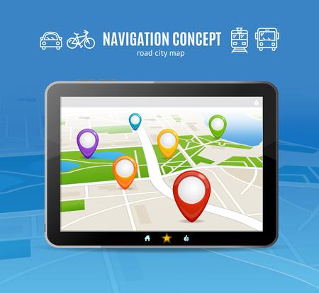 Navigation Concept. Transport on Map for Travelling. Vector illustration Illustration