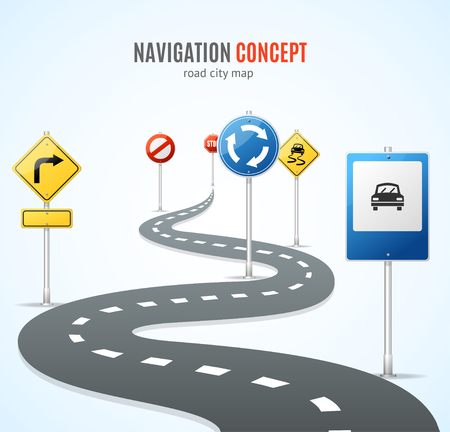 signal pole: Navigation Concept. Road with Signs Traffic. Vector illustration Illustration
