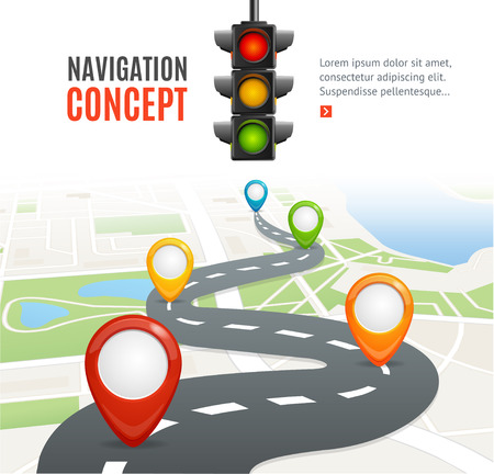 Navigation Concept with Traffic Light and Place for Your Text. Vector illustration