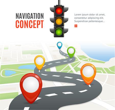 Navigatie Concept met Verkeerslicht en plaats voor uw tekst. Vector illustratie
