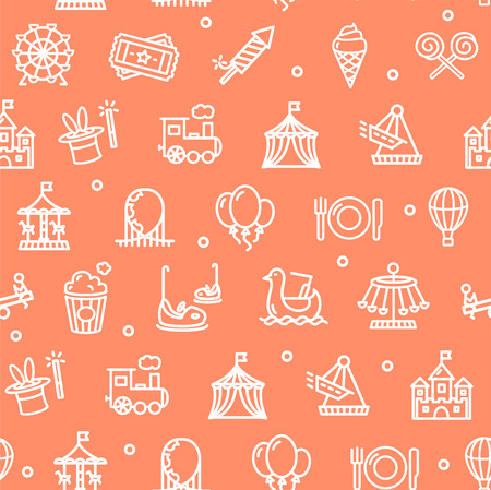 amusement park background: Amusement Park Background Pattern on Red. Vector illustration