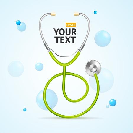 Concepto médico estetoscopio. Cuidados de salud y diagnóstico. Ilustración vectorial