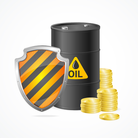 Oil Barrel Price Safety Concept Isolated on White Background. Security Industry. Vector illustration