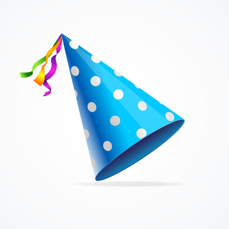 blue party: Blue Party Hat with White Dots Isolated on White Background. Vector illustration Illustration