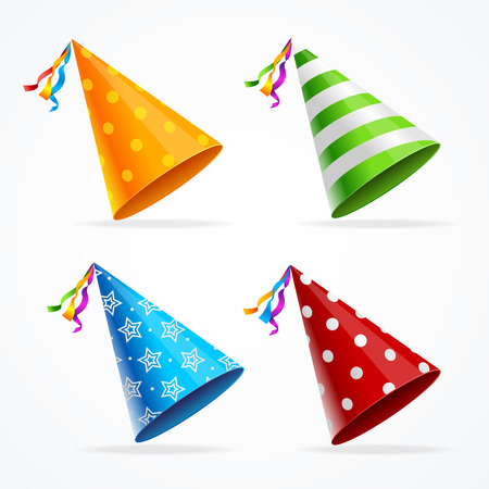 Party Hat Set Isolated with Decorations on White Background. Accessory Holiday. Vector illustration