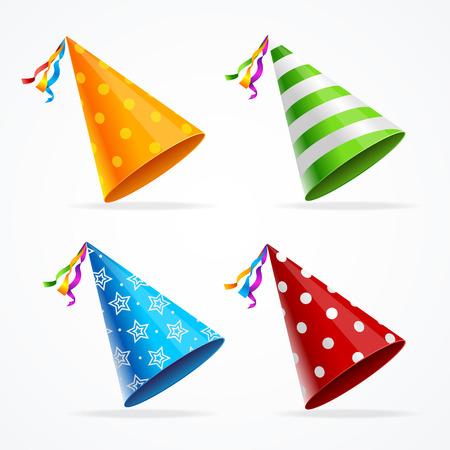 Party Hat Set Geïsoleerd met versieringen op een witte achtergrond. Accessoire Holiday. vector illustratie