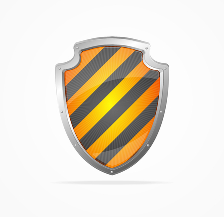 security symbol: Striped Shield Isolated on White Background. Symbol of Protection and Security. Vector illustration