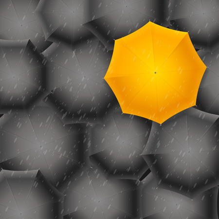 yellow umbrella: Yellow Umbrella on Black Background. Sign of Creativity or Ideas. Vector illustration
