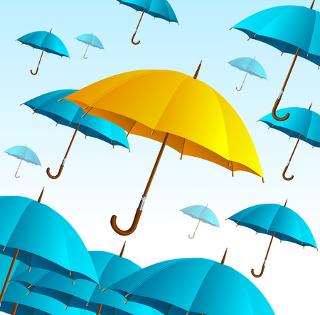 yellow umbrella: Yellow Umbrella on Blue Fly High. Sign Of Happiness or Activity. Vector illustration Illustration