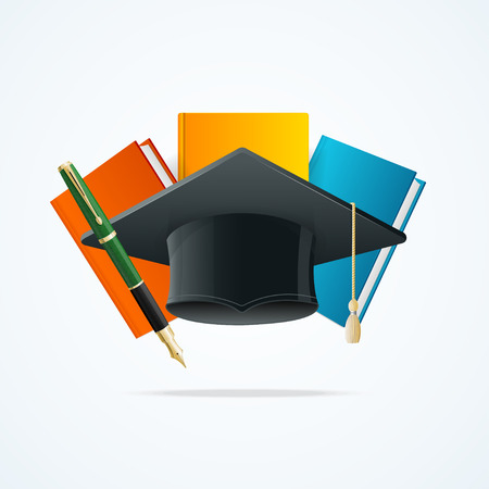 graduated: Education Concept with Books, Pen and Student Hat Graduated. Vector illustration Illustration