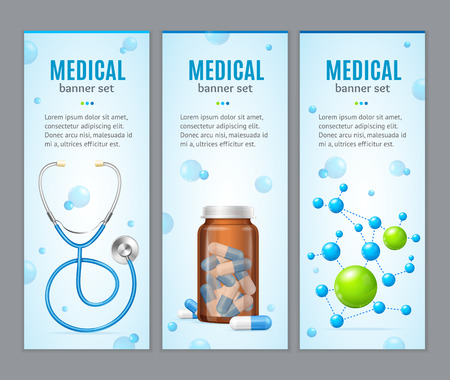 Medical Banner Vertical Set on Grey Background. Concept of Health Care. Vector illustration