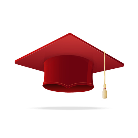 graduated: Student Hat Red Graduated Isolated on White Background. Academic Cap. Vector illustration