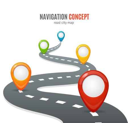 Navigatieconcept. Weg met kaartpinnen of markers. Vector illustratie Stockfoto - 59742540