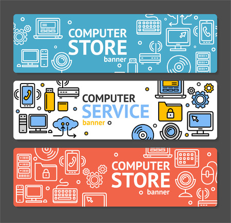 computer repair: PC Service and Shop Banner Horizontal Set on Grey Background. illustration Illustration
