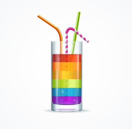 rainbow cocktail: Rainbow Cocktail Glass with a Straw Isolated on White Background. illustration