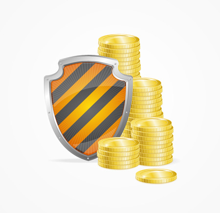 Money Safety Concept Isolated on White Background. Shield and Gold Coins. illustration