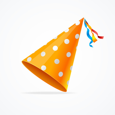 Orange Party Hat with White Dots Isolated on White Background. illustration