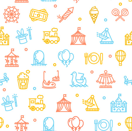 amusement park background: Amusement Park Background Pattern Colorful on White . Vector illustration