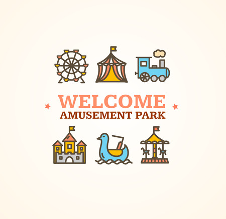 Amusement Park Embleme with Inscription Can Be Used for Cards, Posters. Vector illustration