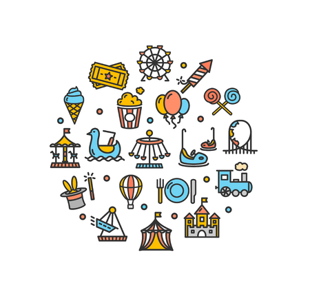Amusement Park Round Design Template Thin Line Icon Set Isolated on White Background. Vector illustration