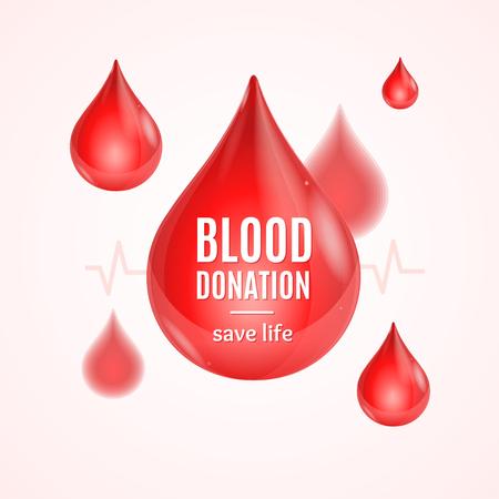 Concept de don de sang avec forme de goutte. Affiche ou Flyer. Illustration vectorielle