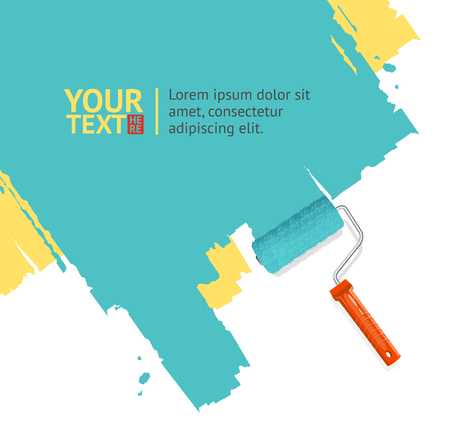 rollerbrush: Roller Brush Painting Banner For Your Business. Vector illustration