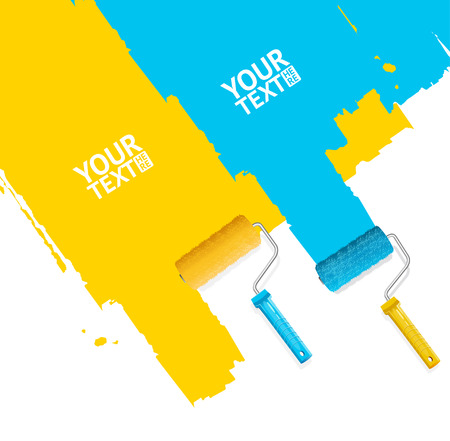 roller brush: Roller Brush Painting Banner For Your Business. Blue and Yellow Stripes. Vector illustration