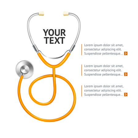 fonendoscopio: Orange Stethoscope with Place for Your Text. Vector illustration
