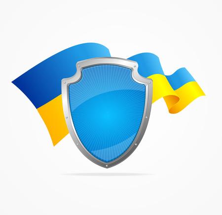 ukraine: Ukraine Flag and Shield Isolated on White Background. Symbol Of Protection. Vector illustration