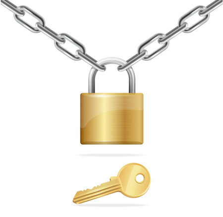 key in chain: Golden Chain, Padlock and Key Isolated on White Background. Vector illustration Illustration