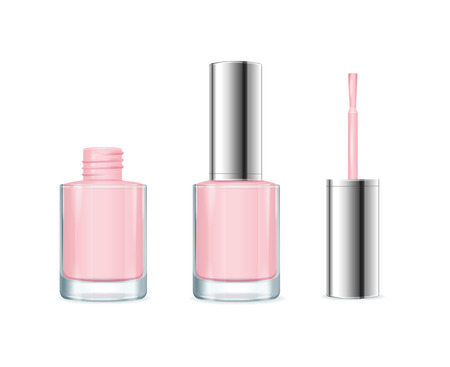 Pink Nail Polish. Open and Closed Bottle. Vector illustration