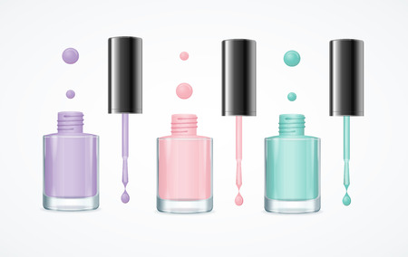 pedicure set: Colorful Nail Polish Open Bottle Set for Manicure and Pedicure. Vector illustration Illustration