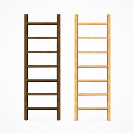 Set of Various Wooden Step Ladders. Vector illustration