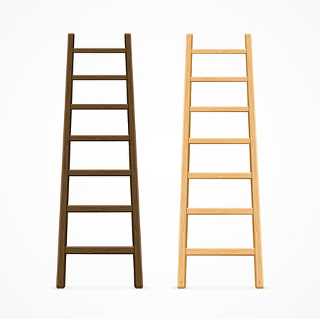 Set of Various Ladders. Dark and Light Brown Color. Vector illustration