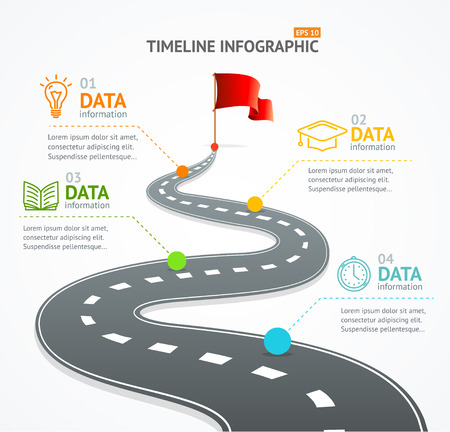Infographic Timeline and Road with Pointer. For Your Business. Vector illustration