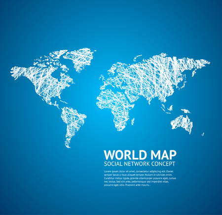 blue network: World Map Stylize on a Blue. Social Network Concept. Vector illustration