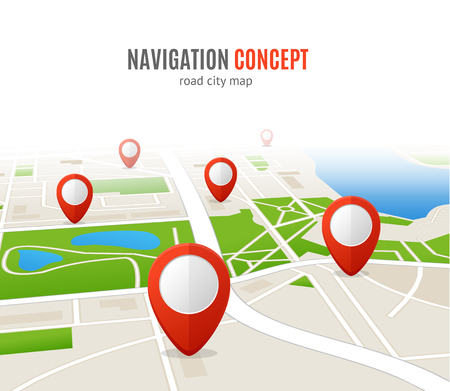 Navigation Concept Road City Map. Red Pins. Vector illustration