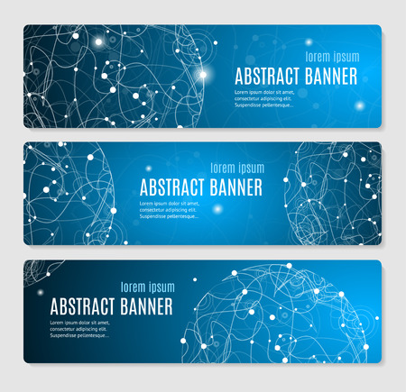Abstract Glowing Sphere Banner Horizontal. Vector illustration