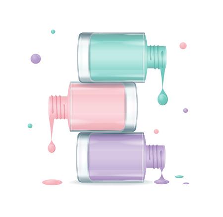 Colorful Nail Polish Set Dripping. Bouteilles ouvertes. Vector illustration Vecteurs