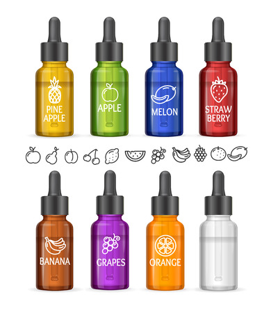 Colorful E-liquid Bottle Set with Icon Fruit. Vector illustration  イラスト・ベクター素材