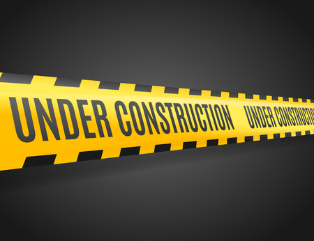 Under Construction Line with Text on a Dark. Vector illustration