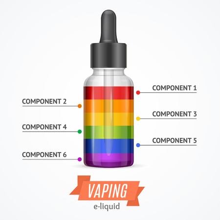 constructor: Vaping Components Constructor Infographics. Color Levels. Vector illustration