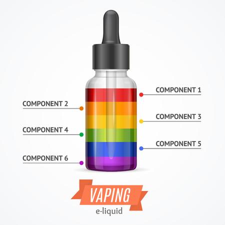 eliquid: Vaping Components Constructor Infographics. Color Levels. Vector illustration