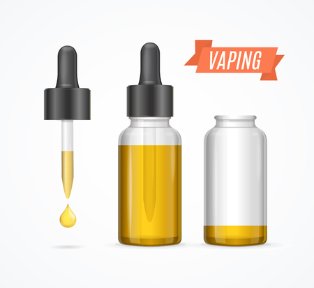 e cigarette: Vaping E-liquid Bottle and Dropper with Droplet. Vector illustration