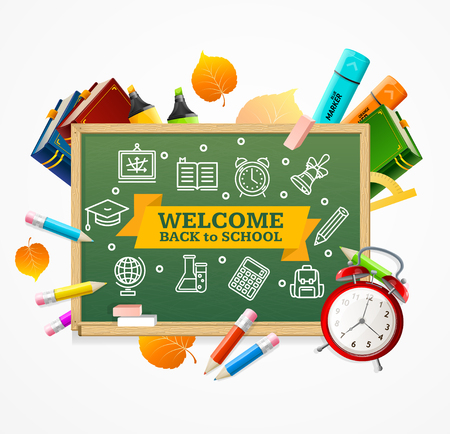 Back to School Concept. Green Chalkboard and Supplies. Vector illustration Vettoriali