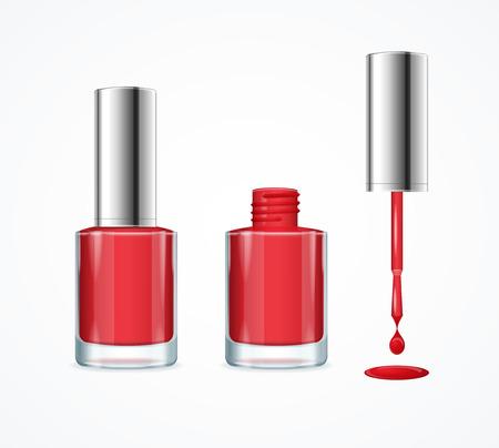 Roter Nagellack. Offen, Geschlossen Flasche und Drop mit Pinsel. Vektor-Illustration