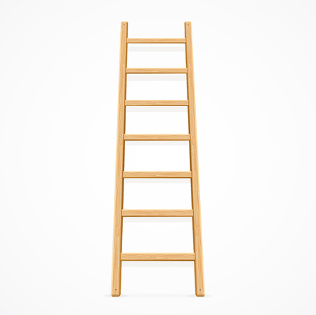 climbing ladder: Wooden Ladder Isolated on White Background. Vector illustration